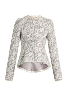 Erdem Gabrielle lace-neoprene peplum jacket