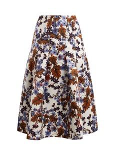 Erdem Gael Meret Spring-print duchess-satin midi skirt