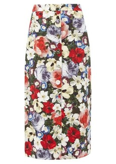 Erdem Gainor floral-print button-down cotton-blend skirt