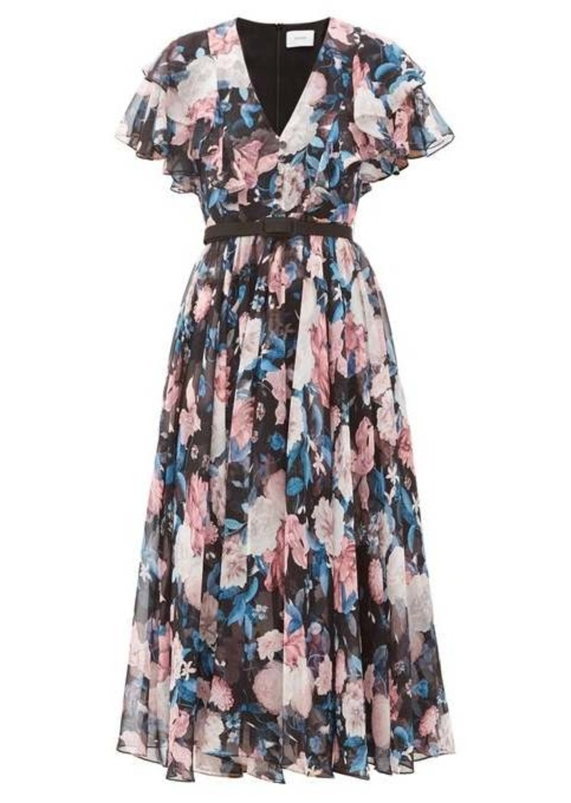 Erdem Garland Dusk Bouquet-print silk-chiffon dress