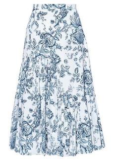 Erdem Gaura Toile de Jouy cotton-poplin pleated skirt