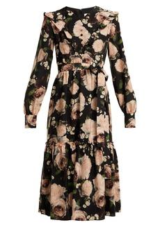 Erdem Georganna Dutch Petal-print silk midi dress