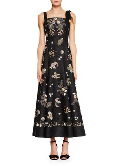 Erdem Gia Square-Neck Sleeveless Long Dress with Beaded Embroidery