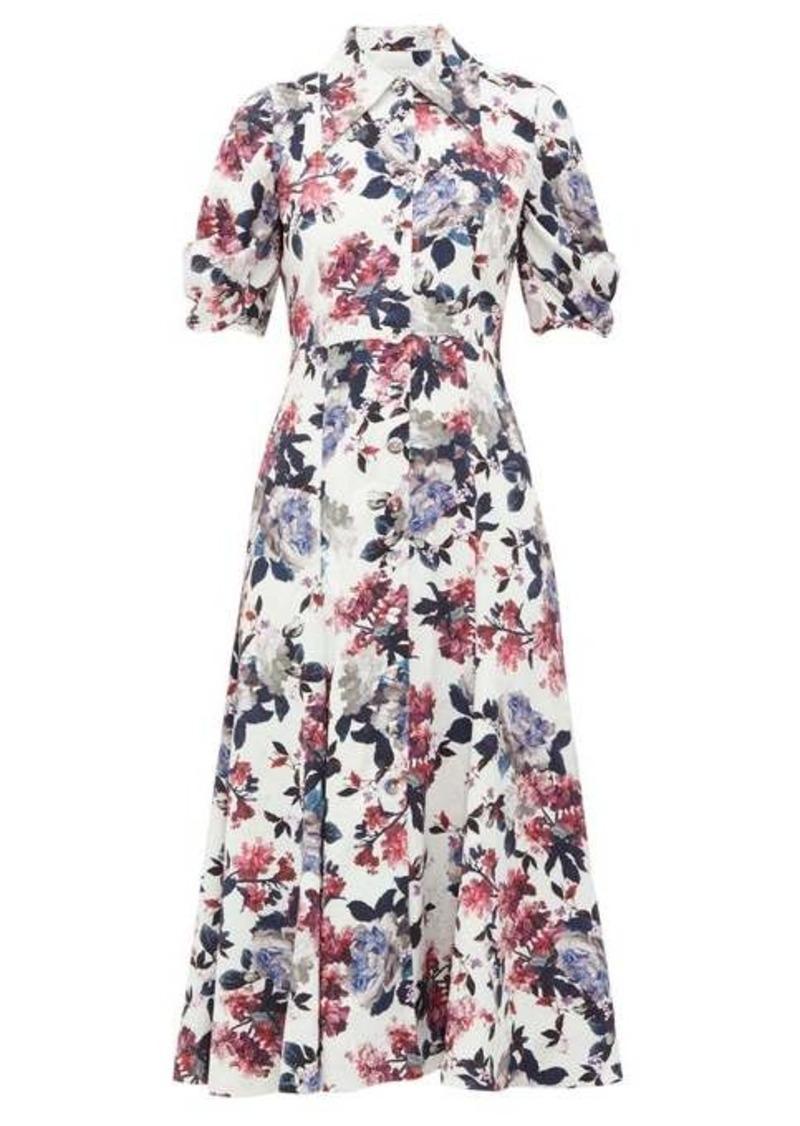 Erdem Gisella floral satin-jacquard shirtdress