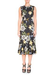 Erdem Grazia Round-Neck Sleeveless Floral-Print Cocktail Dress