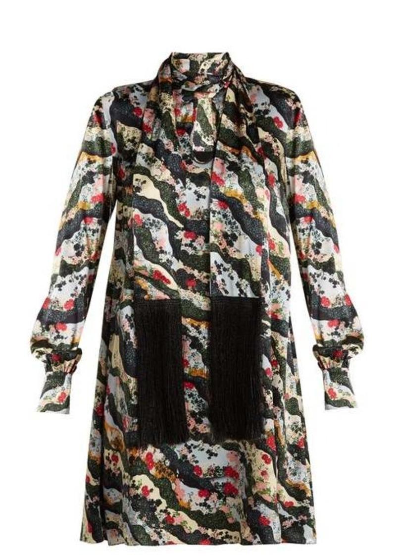 Erdem Gwendoline Keiko Marble-print silk dress