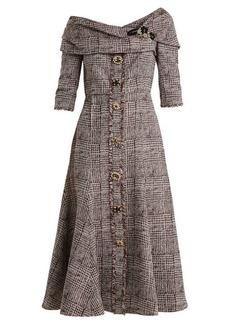 Erdem Iman crystal-embellished checked dress
