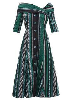 Erdem Iman striped cotton-blend dress