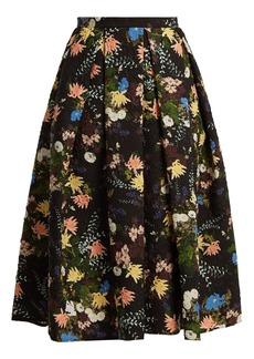 Erdem Ina Mariko Meadow-print matelassé skirt