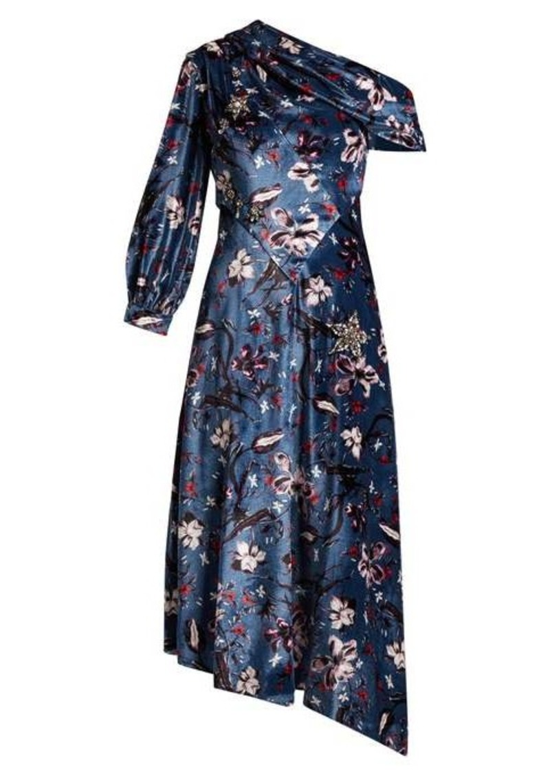 Erdem Jacobina Tulip Dream-print velvet gown
