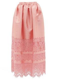 Erdem Jennifer guipure lace-trimmed midi skirt