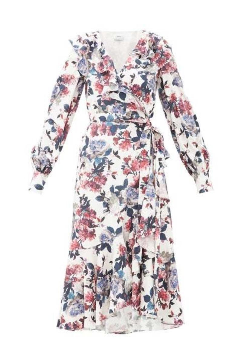 Erdem Jerridine floral-print ruffled satin wrap dress