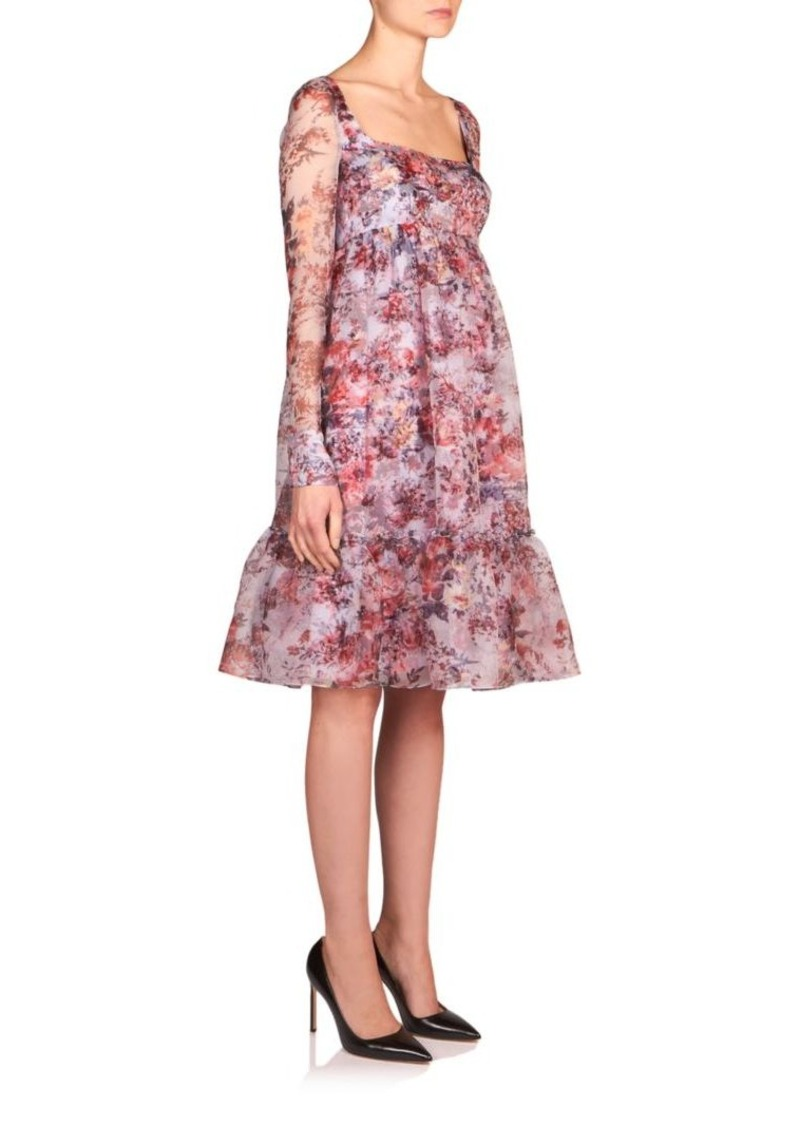 Erdem June Floral-Print Silk Organza Dress
