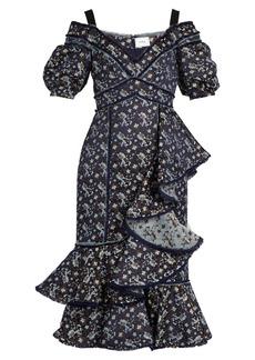 Erdem Kaitlyn floral-jacquard open-shoulder dress
