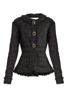 Erdem Karina frayed-edge tweed jacket