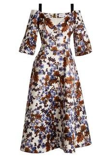 Erdem Karol open-shoulder duchess-satin dress