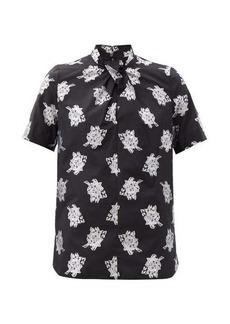 Erdem Karola floral fil-coupé twill blouse