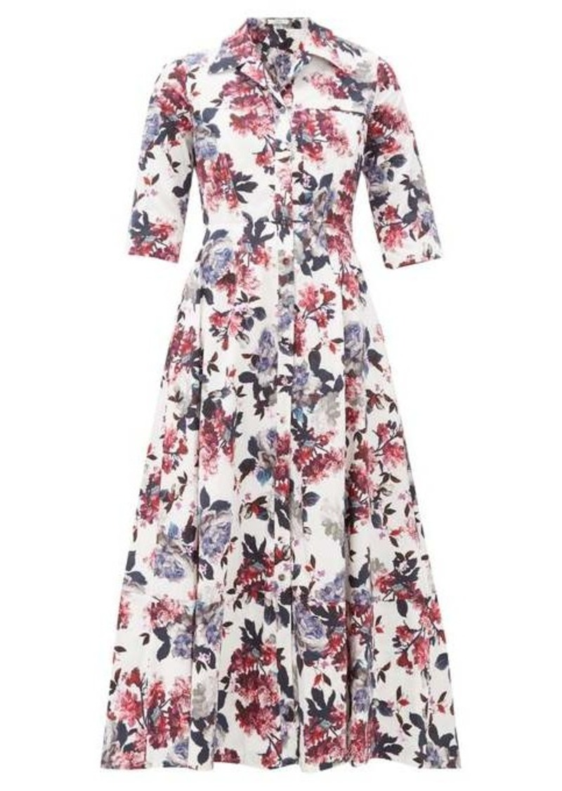 Erdem Kasia floral-print cotton-poplin shirtdress