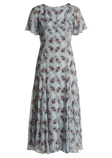Erdem Kathryn Keiko Diamond-print silk dress