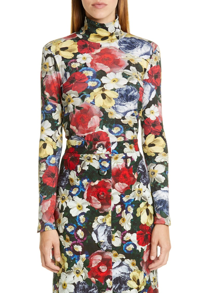 Erdem Kelly Poppy Collage Floral Rib Turtleneck Top