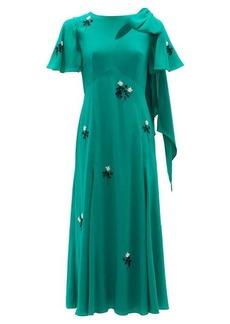Erdem Kirstie floral-beaded bias-cut silk dress