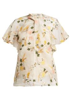 Erdem Kirwin Mariko Meadow silk-organza blouse