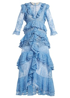 Erdem Koral ruffle-trimmed lace dress