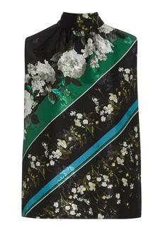Erdem Koren Floral Satin Jacquard Tie-Neck Top