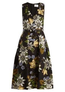 Erdem Kuni floral-print V-neck matelassé dress