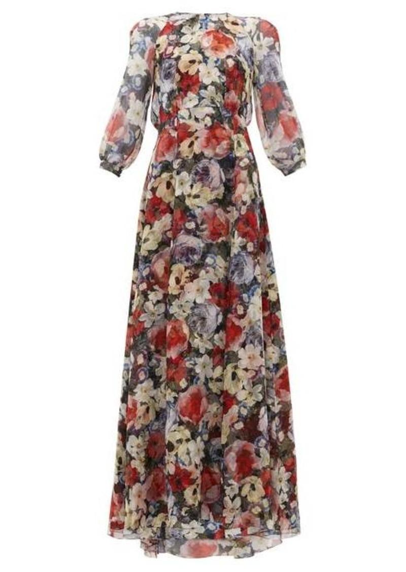 Erdem Lamara Poppy Collage-print silk gown