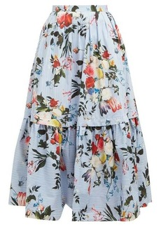 Erdem Leigh Isabelle-print tiered cotton poplin skirt