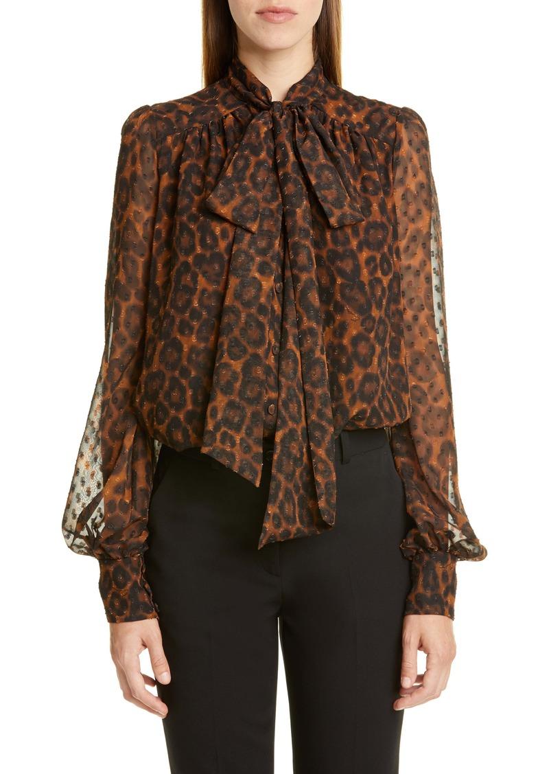 Erdem Leopard Print Tie Neck Blouse