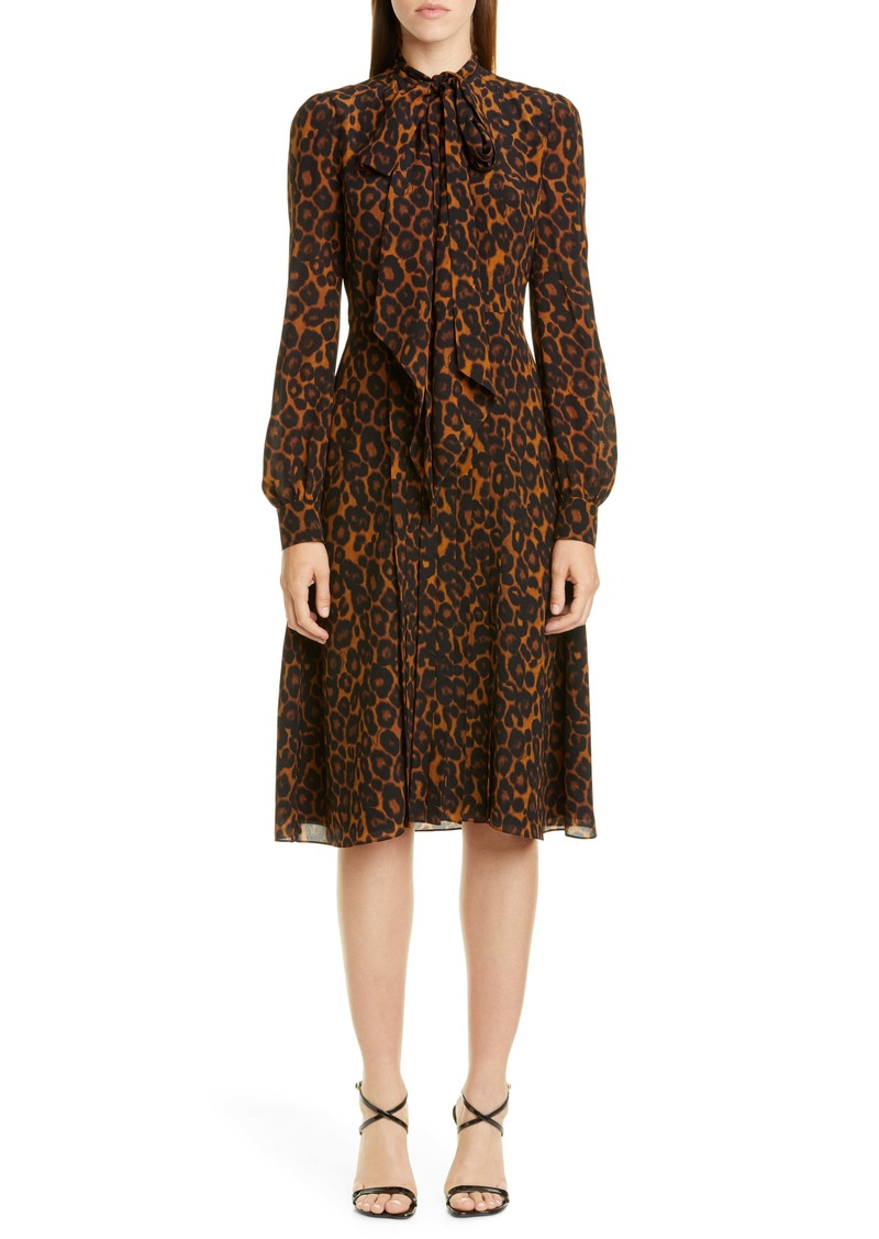 Erdem Leopard Print Tie Neck Long Sleeve Silk Dress