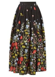 Erdem Lindie floral-embroidered organza skirt
