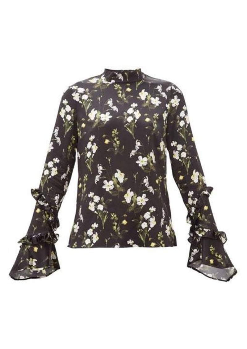Erdem Louella daffodil-print silk blouse