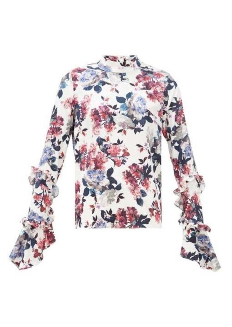 Erdem Louella rose-print silk-jacquard blouse