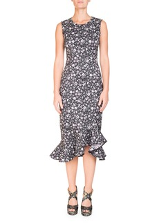 Erdem Louisa Floral-Print Sleeveless Fitted Midi Dress with Flounce Hem