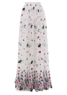 Erdem Lydell floral-embroidered organza maxi skirt