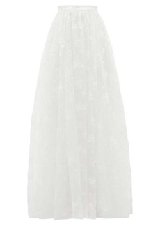 Erdem Lydell floral-embroidered organza skirt