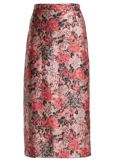Erdem Maira rose-jacquard pencil skirt