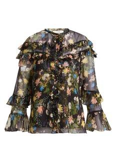 Erdem Margery Mariko Meadow-print silk-chiffon blouse