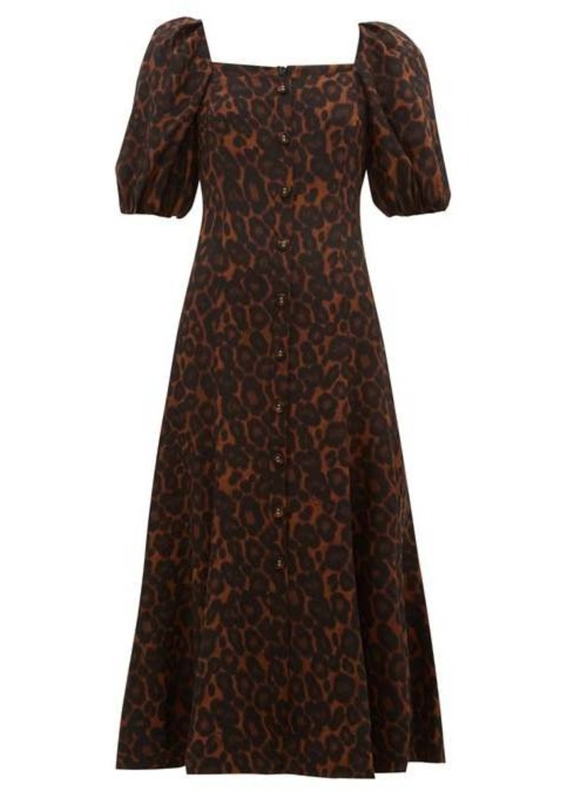 Erdem Mariona puffed-sleeve silk crepe de Chine dress