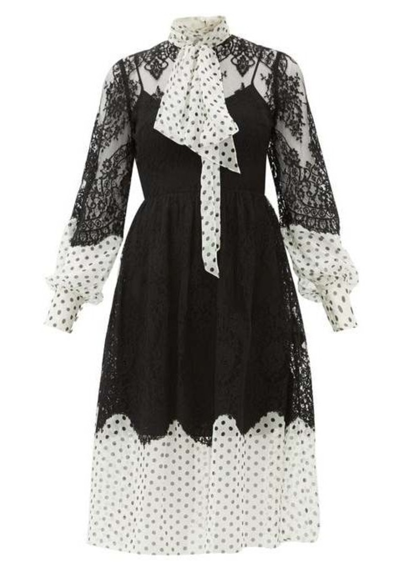 Erdem Medina tie-neck lace and polka-dot georgette dress