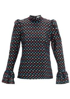 Erdem Melville puffed-sleeve fil-coupé blouse