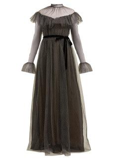 Erdem Mirabelle ruffled polka-dot tulle gown