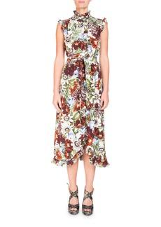 Erdem Mock-Neck Sleeveless A-Line Midi Dress with Ruffled Trim