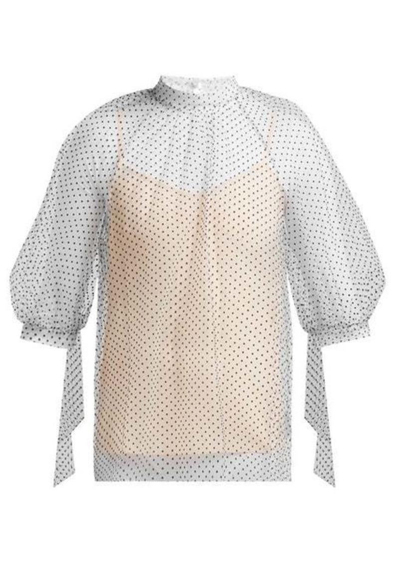 Erdem Nayla polka-dot tulle blouse