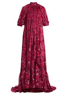 Erdem Neala velvet fil-coupé voile dress
