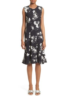 Erdem Neo Floral Print Jersey Ruffle Hem Dress