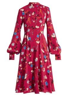 Erdem Neville Hideko-print stand-collar silk dress